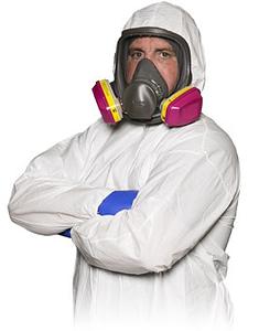 Technician wearing hazard suit