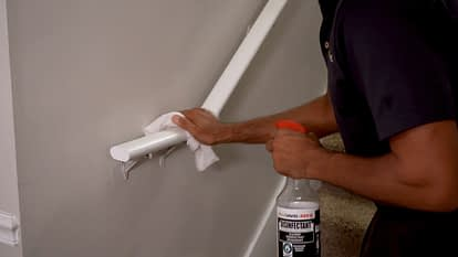 Disinfecting stair rail