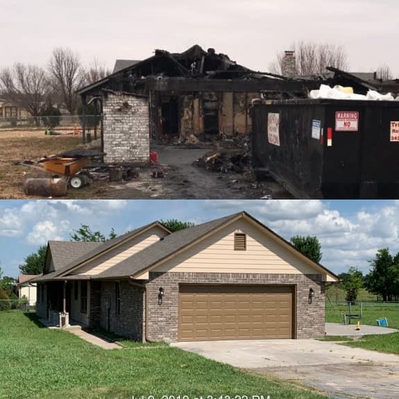Garage before and after fire damage repair