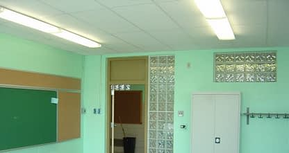 classroom post fire damage