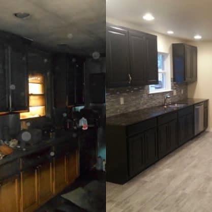 Kitchen fire damage repair before and after