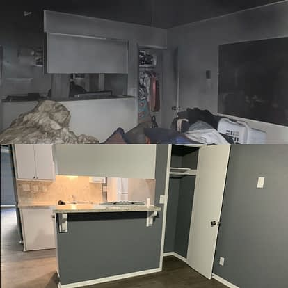 Smoke damage repair before and after