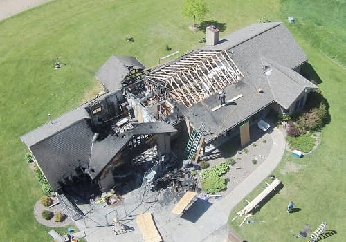 residential fire damage aerial view